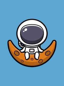 Ładny astronauta siedzi na księżycu ikona ilustracja kreskówka