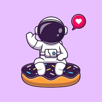 Ładny astronauta siedzi na pączek przestrzeni kreskówka wektor ikona ilustracja. nauka jedzenie ikona koncepcja białym tle premium wektor. płaski styl kreskówki