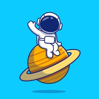 Ładny astronauta siedzi na planecie macha ręką ilustracja kreskówka. koncepcja ikona przestrzeni