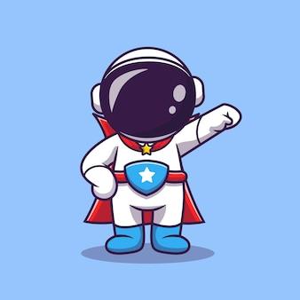 Ładny astronauta superbohater kreskówka wektor ikona ilustracja. ikona technologii nauki