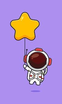 Ładny astronauta trzymając gwiazda balon ikona ilustracja kreskówka. zaprojektuj na białym tle płaski styl kreskówki