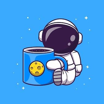 Ładny astronauta trzymając kubek kawy miejsca kreskówka wektor ikona ilustracja. nauka napój ikona koncepcja białym tle premium wektor. płaski styl kreskówki