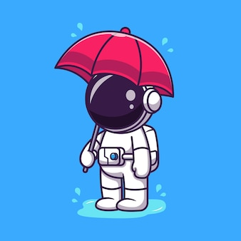 Ładny astronauta trzymając parasol w ilustracja kreskówka deszczu.