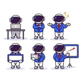 Ładny astronauta w garniturze biznesmena