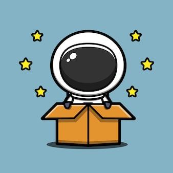 Ładny astronauta w pudełku ikona ilustracja kreskówka