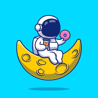 Ładny astronauta z pączkiem i kawą na księżyc ikona ilustracja kreskówka. ludzie nauki ikona koncepcja białym tle premium. płaski styl kreskówki