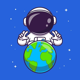 Ładny astronauta z ziemi w przestrzeni kreskówka wektor ikona ilustracja. technologia nauka ikona koncepcja białym tle premium wektor. płaski styl kreskówki