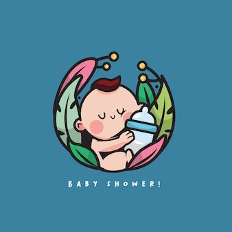 Ładny baby shower, chłopiec, płaska ilustracja