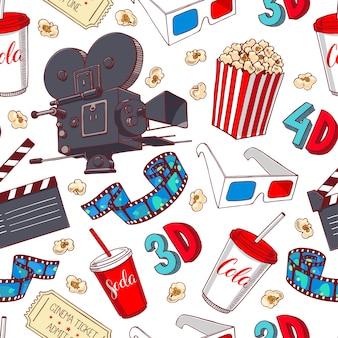 Ładny bezszwowe tło atrybutów kina. ręcznie rysowane ilustracji
