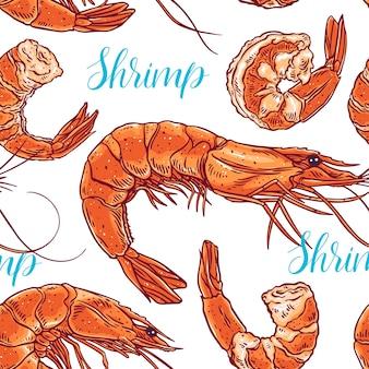 Ładny bezszwowe tło gotowanych różnych krewetek. ręcznie rysowana ilustracja