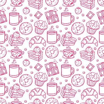 Ładny bezszwowe tło ikon kawy i desery. ręcznie rysowana ilustracja