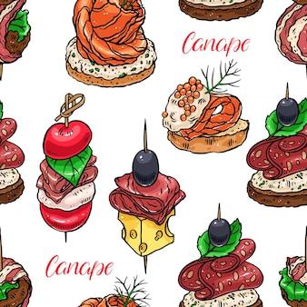 Ładny bezszwowe tło różnych kanapek. ręcznie rysowana ilustracja