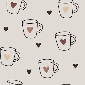 Ładny bezszwowy wektor wzór z kubkami do kawy lub herbaty z sercami