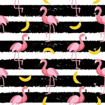Ładny bezszwowy wzór flamingo ilustracja wektorowa eps10