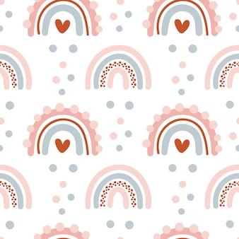 Ładny bezszwowy wzór wektorowy z ręcznie rysowanymi skandynawskimi tęczami i elementami polka dot z miłością serca