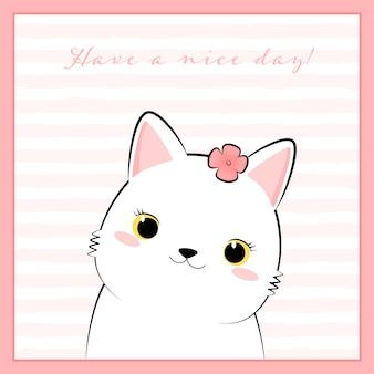 Ładny biały kot kotek kreskówka doodle w różowej ramce