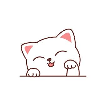 Ładny biały kot kreskówka, ilustracji wektorowych