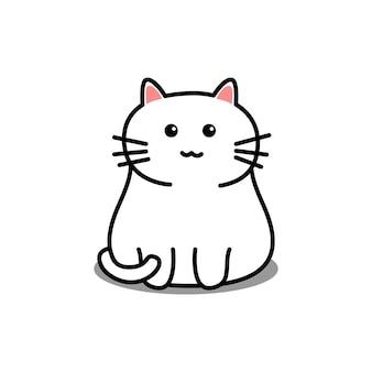 Ładny biały kot kreskówka na białym tle