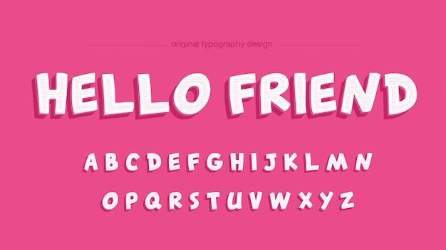 Ładny biały różowy kreskówka typografii