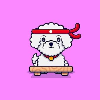 Ładny bichon frise pies szefa kuchni kreskówka ikona ilustracja