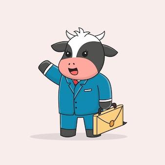 Ładny biznesmen krowa przynosząca skrzynkę