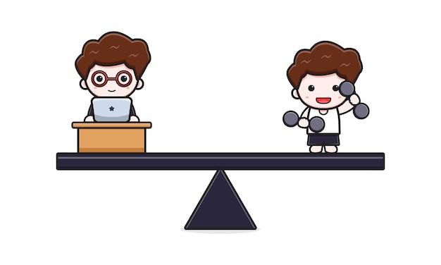 Ładny biznesmen praca life balance biznes i styl życia ikona ilustracja kreskówka. zaprojektuj na białym tle płaski styl kreskówki