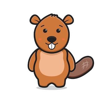 Ładny bóbr maskotka postać z kreskówki ikona ilustracja.