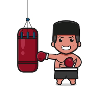Ładny bokser uderza worek z piaskiem ikona ilustracja kreskówka. zaprojektuj na białym tle płaski styl kreskówki