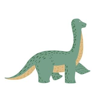 Ładny brachiozaur na białym tle. dinozaury jurajski kreskówka w ilustracji wektorowych bazgroły.