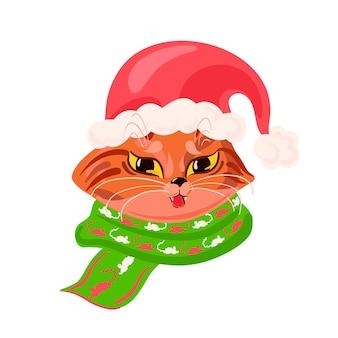 Ładny brązowy kot ubrany w czerwony kapelusz świętego mikołaja i zielony szalik wektor kartkę z życzeniami świątecznymi