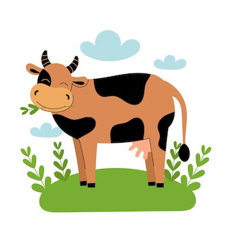 Ładny brązowy krowa stoi na łące. zwierzęta gospodarskie kreskówka, rolnictwo, rustykalne. proste wektor płaskie ilustracja na białym tle z niebieskimi chmurami i zieloną trawą.