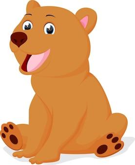 Ładny brązowy niedźwiedź kreskówka siedzi