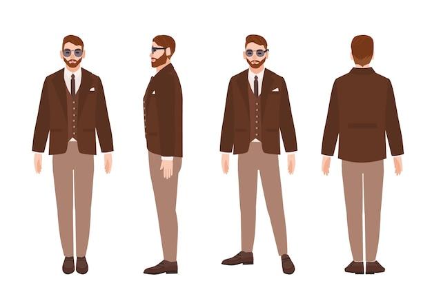 Ładny brodaty mężczyzna lub urzędnik ubrany w elegancki elegancki garnitur. szczęśliwy kreskówka mężczyzna nosi odzież biurową i okulary przeciwsłoneczne. widoki z przodu, z boku iz tyłu. ilustracja wektorowa kolorowy w stylu płaski.