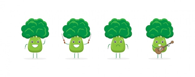 Ładny brokuły kreskówka maskotka