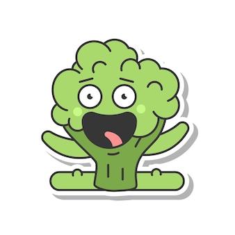 Ładny brokuły robi ćwiczenia fitness wektor kreskówka naklejki na białym tle na białym tle.