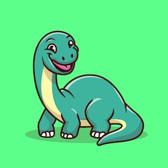 Ładny brontozaura uśmiechający się ikona ilustracja kreskówka. koncepcja ikona dinozaur zwierząt na białym tle. płaski styl kreskówki