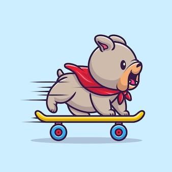 Ładny bulldog gra na deskorolce ilustracja kreskówka wektor. koncepcja sportu zwierząt na białym tle wektor. płaski styl kreskówki
