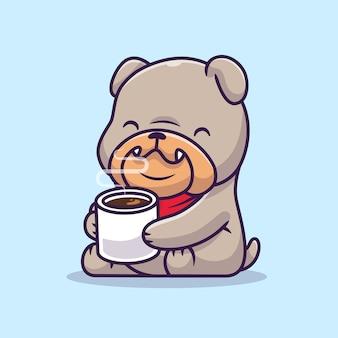 Ładny bulldog picia gorącej kawy ilustracja kreskówka wektor. wektor na białym tle koncepcja karmy dla zwierząt. płaski styl kreskówki