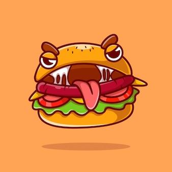 Ładny burger potwór kreskówka wektor ikona ilustracja. koncepcja ikona obiektu żywności białym tle premium wektor. płaski styl kreskówki