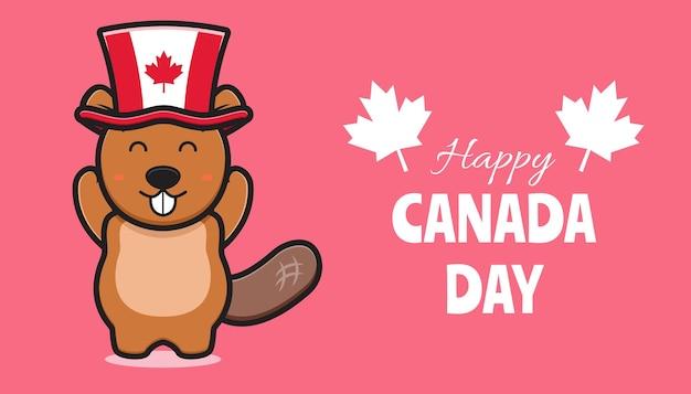 Ładny charakter bóbr obchodzony dzień kanady ikona ilustracja kreskówka.