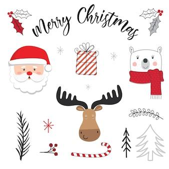 Ładny charakter bożego narodzenia i ozdoby świąteczne.