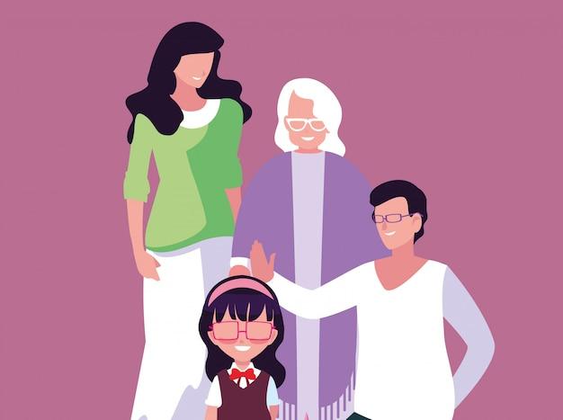 Ładny charakter członka rodziny awatara
