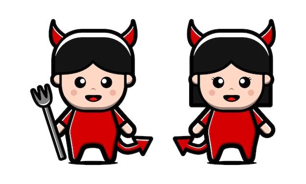 Ładny charakter diabła na białym tle