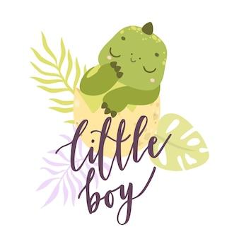 Ładny charakter dinozaura w jajku mały chłopiec śpi dziecko