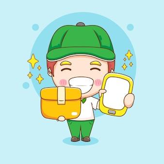 Ładny charakter dostawy mężczyzna trzyma pakiet i telefon