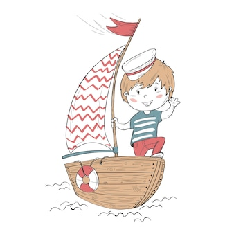 Ładny charakter dziecka. chłopak ioryak na łodzi.
