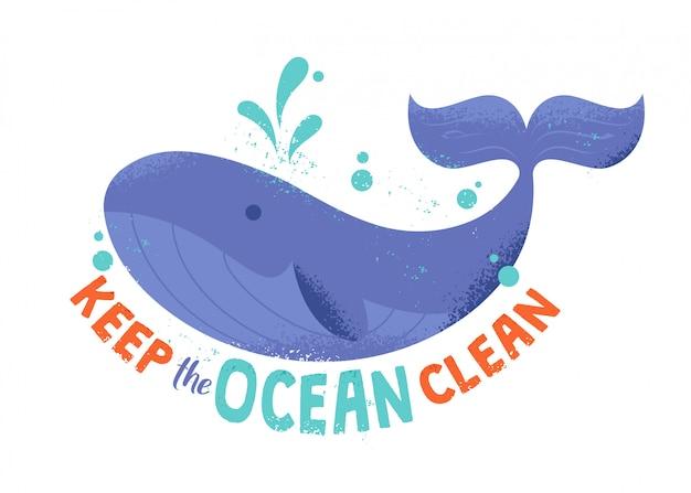 """Ładny charakter dzikiego ssaka wieloryba w oceanie w stylu kreskówki hipster z teksturami i zwrotem """"utrzymaj ocean w czystości"""". nowoczesne zbiory ilustracji. przyjazny dla środowiska, ocal koncepcję planety."""
