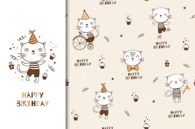 Ładny charakter kotek kotek dziecka. karta urodzinowa dla dzieci i tło dekoracyjne party. ręcznie rysowane kreskówka zwierząt ilustracja projektu.
