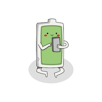 Ładny charakter kreskówka baterii w telefonie