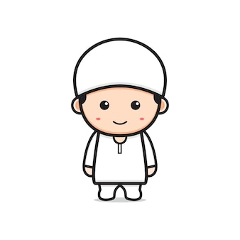 Ładny charakter muzułmańskich kreskówka ikona ilustracja. zaprojektuj na białym tle płaski styl kreskówki